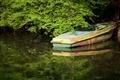 悠靜的湖面及小船