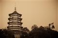 雷峰塔塔樓與鐘型路燈