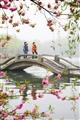 桃花所構成的框景,桃花圍繞於遊客之間