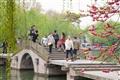 來往於拱橋的遊客欣賞西湖美景